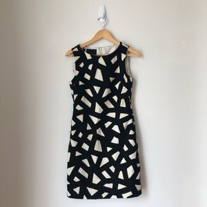 Carlisle Geometric Wool Black and White Dress